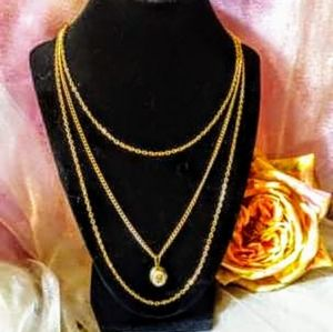Vintage three strand locket necklace